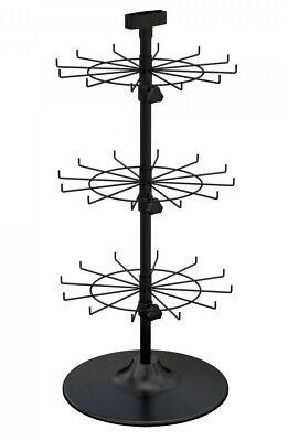 Counter Peg Hook Display Rack - 3 Tier 36 Peg Hooks 2 Apart Black