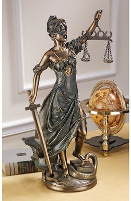 "22"" Greek Goddess Scales of Justice Bronze Finish Sculpture Home Gallery Statue"