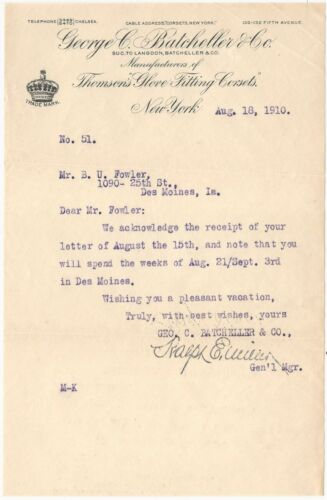 1910 New York Thomson's Glove Fitting Corset Letterhead with Typed Letter