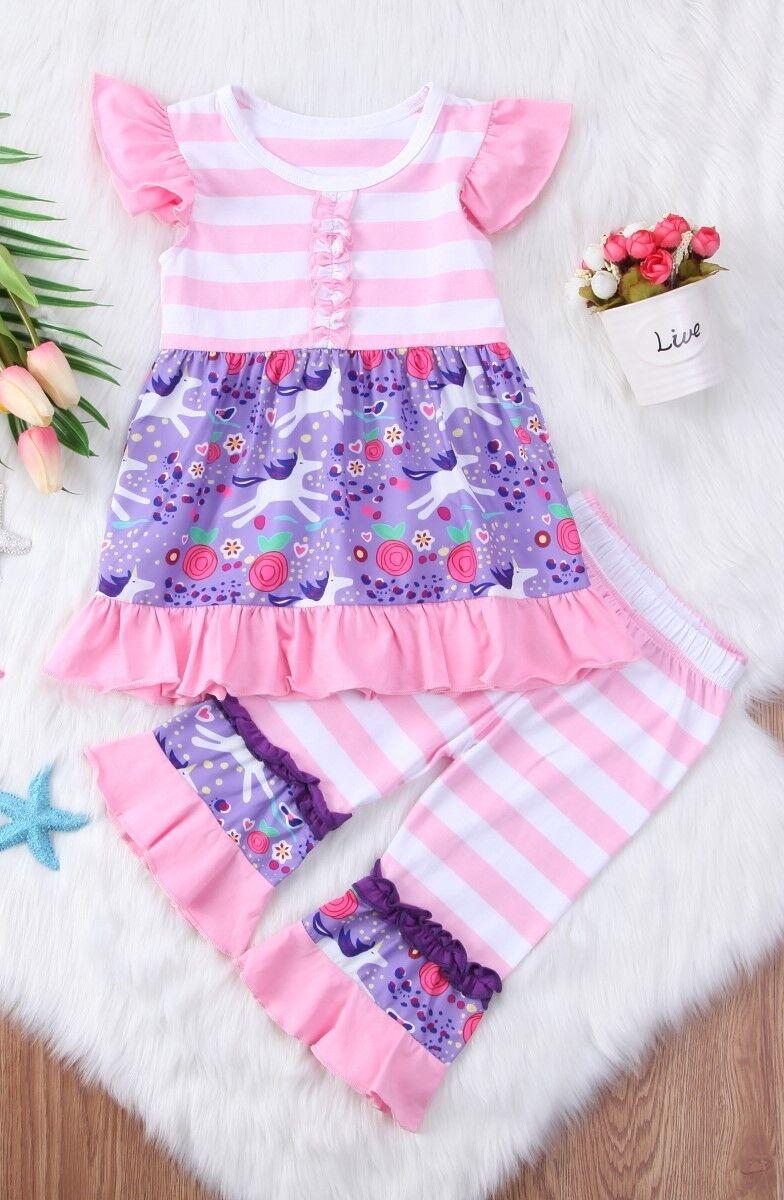 NEW Unicorn Girls Pink Purple Sleeveless Ruffle Tunic & Pant