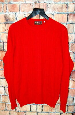Vintage 40 / M  MALO 100 % Cashmere Bright Red Cable Knit Sweater Made Italy