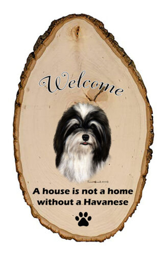 Outdoor Welcome Sign (TB) - Black and White Havanese 51092