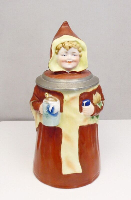 Antique Hofbrauhaus HB Dresden German Character Friar Monk Beer Stein
