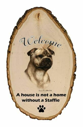Outdoor Welcome Sign (TB) - Fawn Staffordshire Bull Terrier 51917
