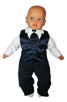 Taufanzug Baby Junge Kinder Hochzeit Anzüge Festanzug, 4tlg ,Marineblau-Weiß K15