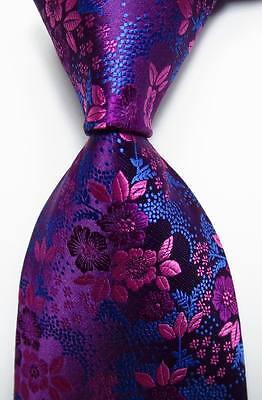 New Classic Floral Rose Blue JACQUARD WOVEN 100% Silk Men's Tie Necktie