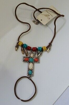 Brown faux Leather cord Silver CROSS Turquoise stone/bead Ankle foot N14-4/22 ()