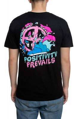Pink Dolphin Mens Positivity Prevails Black T-Shirt Streetwear Tee Fashion NWT