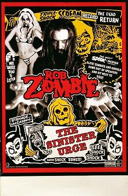 WHITE ZOMBIE ROB ZOMBIE 2001 SINISTER TOUR POSTER ORIGINAL