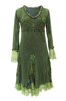 Gothic Witchy Pagan Elfe Goa Psy Ethno Nepal Kleid bestickt Spitze S M L XL - Baumwolle Bestickt Kostüm