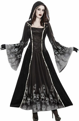 Morris Costumes Women's Long Sleeve Ghosts Soul Dress Black Silver 6-14. FM71336