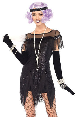 Morris Costumes Women's Sequin Flapper Foxtrot Flirt Costume Black S. UA85568SM