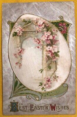 Embossed Easter Postcard w/ Silk Insert of Pink Flowers around Doorway ca 1910