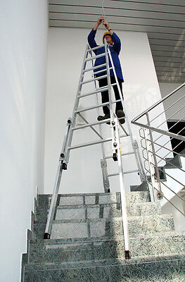 Günzburger Aluminium-Stehleiter treppengängig   Treppenleiter Alu Treppen-Leiter