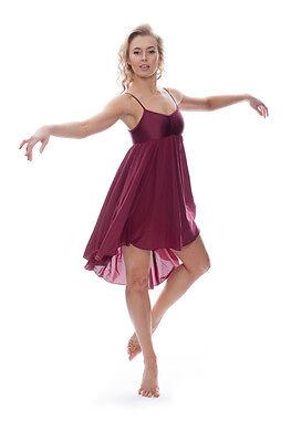Damen Mädchen Burgund Lyrisch Kleid Zeitgenössisch Ballett Tanzen Kostüm