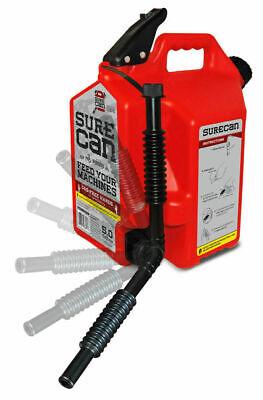 Surecan Sur50g1 5 Gallon Red Plastic Gasoline Can Rotating Nozzle