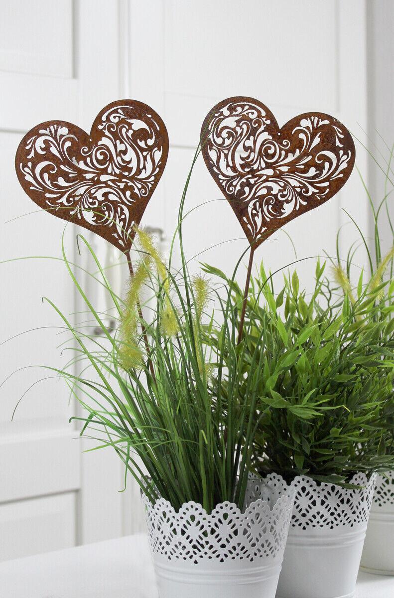 2er SET Gartenstecker Herz Gartendeko Deko Garten Metall Rost Edelrost Ornament