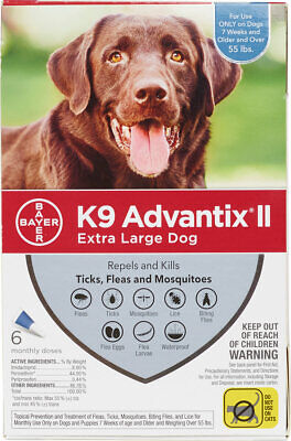 K9 Advantix II for Extra Large Dogs Over 55 lbs - 6 Pack - FREE Shipping
