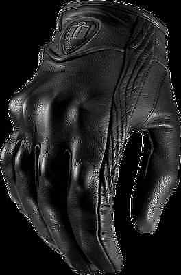 Mens Icon pursuit non-perforated stealth motorcycle leather biker gloves