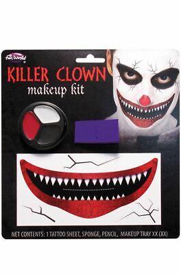 Killer Clown Teeth Creepy Tattoo Smile Scary Fancy Dress Makeup Kit