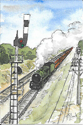 ORIGINAL AQUARELL - Riverina Express.