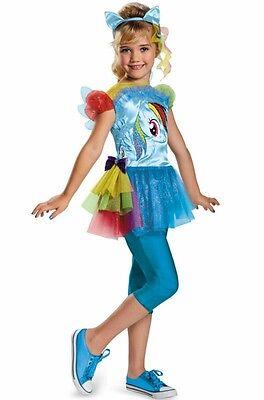 Girls My Little Pony Costume Rainbow Dash Fancy Dress Toddler Kids Child Blue