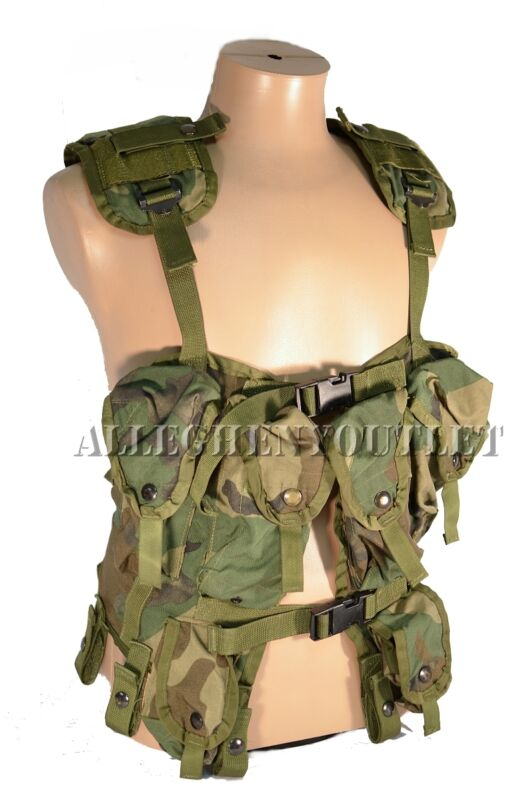 US Military Tactical LOAD BEARING VEST LBV Woodland Camo Vietnam Era GC