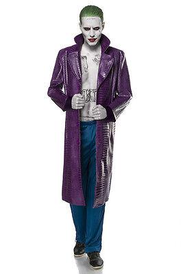 Suicide Joker Herren Kostümset Mantel Hose Halloween Fasching Karneval (Joker Kostüm Lila Hose)