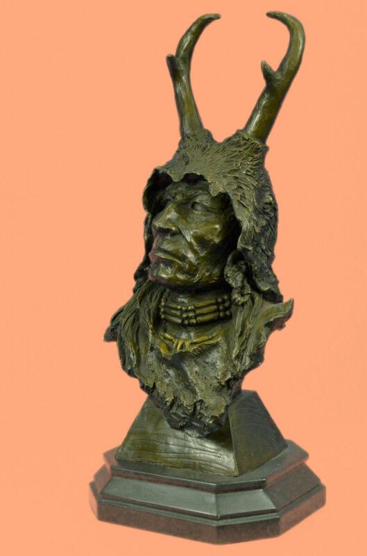 Handcrafted bronze sculpture SALE Warrior Indian American Native Marble Figure