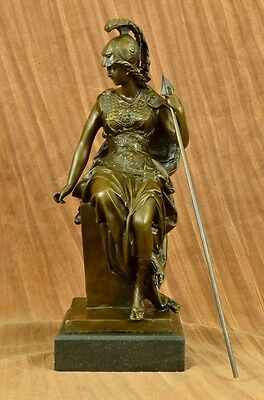 Grecian Goddess Athena Elegant Female War Classical Bronze Marble Statue Artwork
