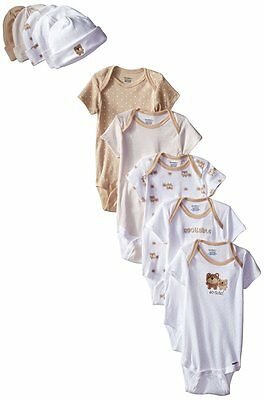 Gerber Unisex-Baby 10-Piece Newborn Bear Onesies and Cap Bundle Gift Set, 0-6M