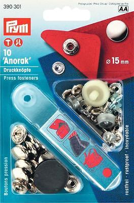 Prym Anorak Druckknöpfe 10 St. Druckknopf silber 15mm mit Werkzeug 390301