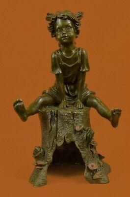 Child Bronze Figurine - Huge Sale Sitting Girl Child Bronze Statue Figurine Figure Handmade Art