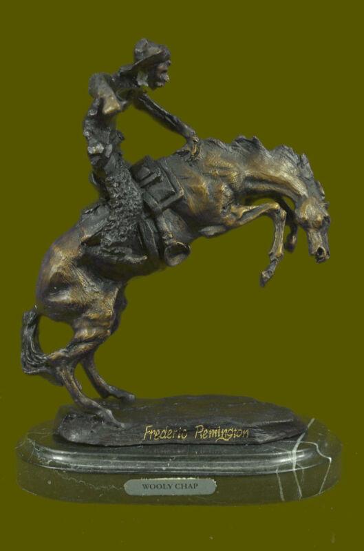 100% Bronze Statue Remington Bronze cowboy w/Horse Sculpture WOOLY CHAP Figure