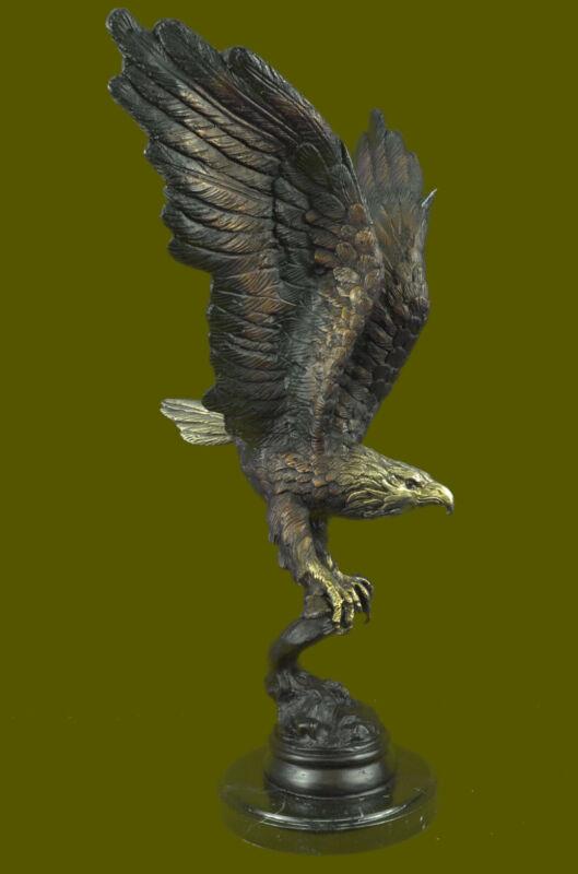 Signed Moigniez American Bald Eagle Bronze Sculpture Statue Bird Figure Decor