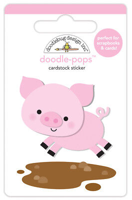 Scrapbooking Crafts Doodlebug Stickers Doodle-Pop Down on Farm Piggy Pig Mud