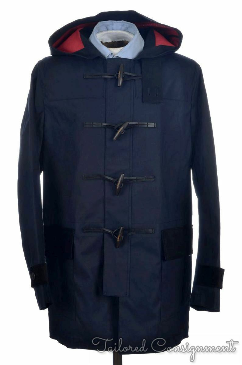 NWT $795 COACH Blue 100% Cotton Toggle MAC DUFFLE COAT Jacke