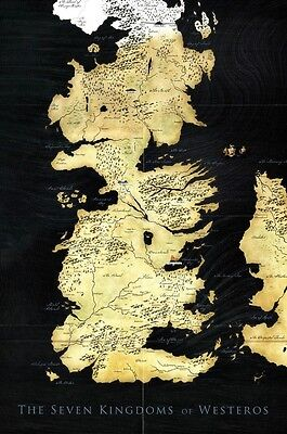 Game Of Thrones 1 2 3 Seven Kingdoms Map Tv Fabric Poster 20  X 13  Decor 52