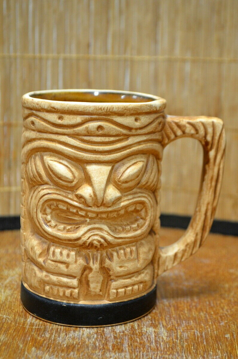 Vintage Hawaii Kai Short Handled Tan Tiki Mug Made in Japan