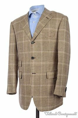ALFRED DUNHILL Caruso Brown Houndstooth TWEED Blazer Sport Coat Jacket - 40 R