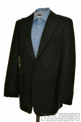 VERSACE Solid Black WOOL Satin Peak Lapel TUX Tuxedo Jacket - 38 L