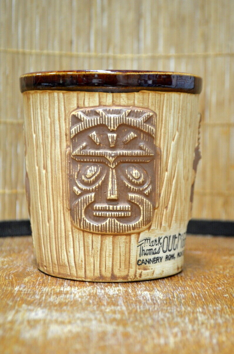 Vintage Mark Thomas Outrigger Cannery Row Monterey 3 Faced Bucket Tiki Mug