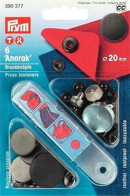 6 Anorak Druckknöpfe 20 mm brüniert 390377 Prym Druckknopf mit Werkzeug