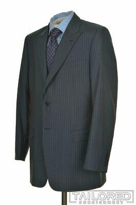 VERSACE Blue Striped 100% Wool Dual Vent Jacket Pants SUIT Mens EU 56 / US 44 L