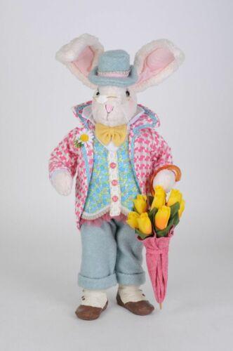 Easter Bunny Rabbit Figurine Umbrella Flowers 21″H