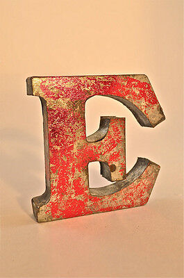 FANTASTIC RETRO VINTAGE STYLE RED 3D METAL SHOP SIGN LETTER E ADVERTISING FONT