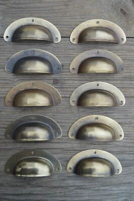 A SET OF 10 ANTIQUE PRESSED AGED BRASS DRAWER HANDLE FILING INDUSTRIAL 3