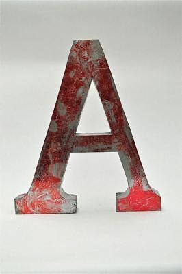Large 14 inch 3 dimensional metal sign letter A red metallic finish shop font