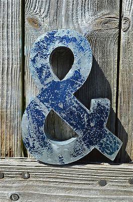 MEDIUM VINTAGE STYLE 3D BLUE & SHOP SIGN LETTER TIN WALL ART AMPERSAND FONT