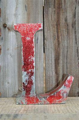 MEDIUM VINTAGE STYLE 3D RED L SHOP SIGN LETTER TIN WALL ART LETTER FONT